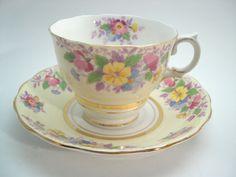 Colclough Tea cups And Saucers, Antique tea cup and saucer set, Yellow Floral tea cup and saucer. by AntiqueAndCrafts on Etsy