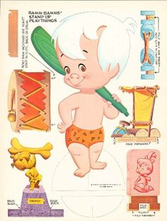 are based on the Flintstone's cartoon characters. Pebbles is Fred and Wilma Flintstone's daughter, while Bamm Bamm is Barney and Betty Rubles' son. Paper Doll Craft, Doll Crafts, Paper Toys, Paper Crafts, Imprimibles Toy Story Gratis, Pebbles And Bam Bam, Material Didático, Paper Dolls Printable, Vintage Paper Dolls