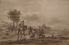 "OSTADE (van) Isaac,1644-49 - Paysage avec Voyageurs (drawing, dessin, disegno-Custodia) - 0 - TAGS/ details détail détails detalles ""dessins 17e"" ""17th-century drawings"" ""dessins hollandais"" ""Dutch drawings"" ""Dutch painters"" ""peintres hollandais"" Paris France Holland Hollande animal animaux animals man men hommes paysan dog pet chien Isaack tree trees nature arbres chevaux cheval horse traveller ox boeufs boeuf oxes agriculture countryside campagne landscape Isaack road chemin camino"