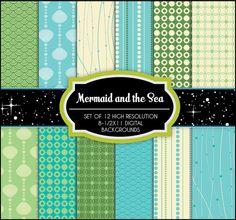 Mermaid & The Sea - 12 Digital Backgrounds - Printable - Scrapbooking, Birthday, Invitations, Baby Shower, Wedding
