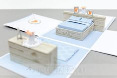 Explosion box with bedroom furniture Bedroom Furniture, Bedroom Decor, Bedroom Ideas, Recycled Furniture, Stampin Up, Recycling, Decorative Boxes, Miniatures, Place Card Holders