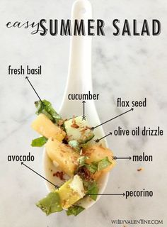 Easy Melon, Cucumber Basil Summer salad | Wiley Valentine #recipes