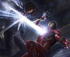 Guerra Civil – Nova arte incrível mostra a batalha entre o Homem de Ferro e o Soldado Invernal! - Legião dos Heróis