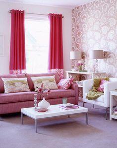 pink living rooms | Hot Pink Living Room Interior Designs Photo Best interior designs