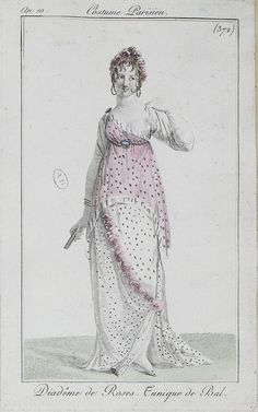 English fashion plates from and French fashion plates from Year 10 of the French Republican Calendar. All images come from the collection of the Bibliothèque des Arts Décoratifs. 1800s Fashion, 19th Century Fashion, Vintage Fashion, Steampunk Fashion, Gothic Fashion, Regency Dress, Regency Era, Vintage Illustration Art, Illustrations