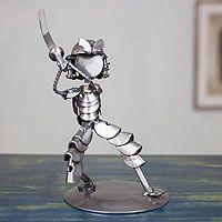 Recycled metal statuette, 'Rustic Samurai II'