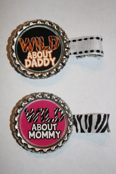 Wild About Mommy, Daddy, Wild Child Animal Print Custom Bottecap Clippie, Your Choice of Design Only 1.49. $1.49, via Etsy.
