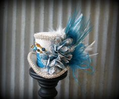 Peacock Blue and tan Mini Top Hat, Alice in Wonderland,Mad Hatter Hat, Steampunk mini top, Tea Party Wedding Mini top hat, Tea Party Hat on Etsy, $45.00