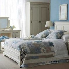 shab chic master bedroom with white bedroom furniture sets with regard to White country bedroom furniture Decorating Ideas and Refinishing Tips with White Country Bedroom Furniture Chic Master Bedroom, White Bedroom Set, White Bedroom Design, Blue Bedroom Decor, Bedroom Colors, Bedroom Ideas, Pine Bedroom, Bedroom Country, Cozy Bedroom