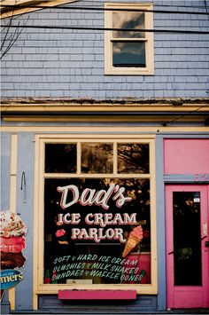 Paint on the glass? - Dad's Ice Cream Parlor in Mahone Bay, Nova Scotia. A definite place to visit on my next trip! Everyone loves ice cream! Love Ice Cream, Ice Cream Parlor, East Coast Travel, Soda Fountain, Prince Edward Island, Cafe Restaurant, Canada Travel, Nova Scotia, Signage