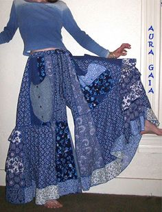 AuraGaia ~Bluebird~ Skort Skirt Pants Poorgirls Wide Leg Upcycled XS-2X