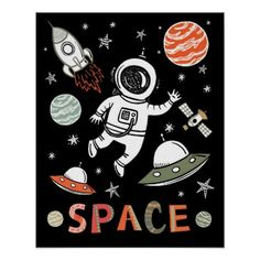 Shop Outer Space Astronaut rocket ship planets Poster created by McBooboo. Personalize it with photos & text or purchase as is! Space Artwork, Space Photos, Space Images, Outer Space Crafts, Hand Drawn Fonts, Space Facts, Space Illustration, Astronauts In Space, Space And Astronomy