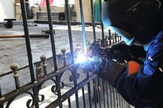 Our metal gates being fabricated by our expert staff. Metal Gates, Metal Railings, Wrought Iron Gates, Side Gates, Driveway Gate, Entrance Gates, Gate Design, Garden Gates, Steel