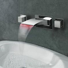 New Led Waterfall Three Pieces Wall Mounted Bathroom Sink Tap Taps Online Offering All Kinds Of
