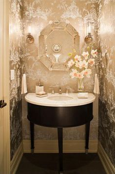 Metallic Wallpaper in powder room. Windowless half baths need reflective surfaces so light can fill room