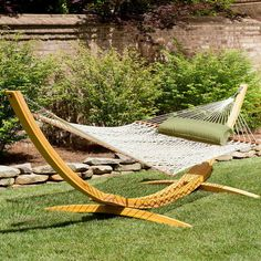 Deluxe Rope Hammock with Wooden Stand by Hatteras Hammocks - Glacier Pillow and Tan Chord