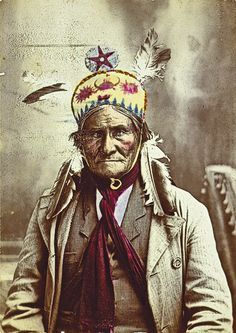 Geronimo, whom Gen. Nelson Miles named the Human Tiger, looks tamed and subdued in this photograph. A similar photo of him in painted headgear introduced his autobiography, published in 1906.  – Courtesy Library of Congress –