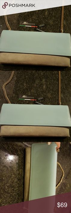 A. Belluci genuine leather clutch bag NEW beautiful baby blue leather and light gray/stone colored suede clutch bag; this has a gold chain which can be used for an over the shoulder look or made shorter; you can tuck the chain inside to make this a clutch; GREAT evening out bag!!!! Bags Clutches & Wristlets