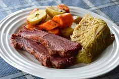 Slow Cooker Corned Beef Dinner - Weekend at the Cottage Slow Cooker Corned Beef, Corned Beef Recipes, Baked Bean Recipes, Crockpot Recipes, Stove Top Baked Beans Recipe, Carrots And Potatoes, Brisket, Veggies, Tasty