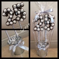 silver wedding anniversary sweet tree created using ori.- silver wedding anniversary sweet tree created using original ferrero rocher… silver wedding anniversary sweet tree created using original ferrero rochers - 25th Anniversary Gifts, Silver Anniversary, Homemade Gifts, Diy Gifts, Candy Trees, Sweet Trees, Candy Crafts, Chocolate Bouquet, Candy Bouquet