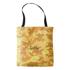 Autumn Colors Orange and Yellow Camouflage Print Tote Bag - autumn gifts templates diy customize