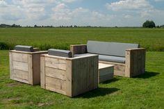 Garten Loungebank Set aus Gerüstholz
