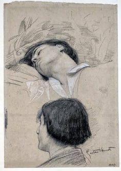 Studies for the Shakespeare's Theater - Reclining Young Man Head Study Drawing by Gustav Klimt Life Drawing, Painting & Drawing, Franz Josef I, Kathe Kollwitz, Jugendstil Design, Klimt Art, Kunst Online, Inspirational Artwork, Alphonse Mucha