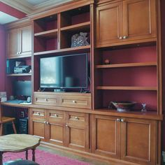 Desk/TV cabinet complete and set up. Maple stained burnt umber at Hollow core shelves veneered and stained. Loox lighting with concealed on/off touch dimmer Oakville Cabinetry Maple Stain, Tv Cabinets, Core, Desk, Shelves, Touch, Lighting, Furniture, Home Decor