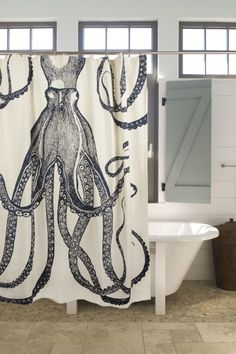 Octopus Shower Curtain / Ink: Beach Decor, Coastal Home Decor, Nautical Decor, Tropical Island Decor & Beach Cottage Furnishings