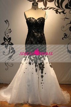 RW192 Black and White Lace Gothic Wedding Dress by Aegeanbridal