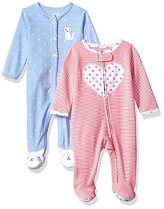 Carter's Baby Girls' 2-Pack Cotton Sleep and Play, Heart/Kitty, 6 Months