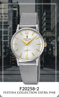 La montre F20258 de Festina pour femme est issu de la collection Extra 1948. Cette réédition possède un mouvement en quartz ainsi qu'un affichage analogique. Son bracelet est en acier inoxydable. Elle est maintenant disponible sur Chic-Time.fr