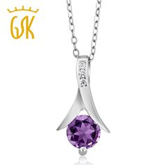 "GemStoneKing 0.85 Ct Round Purple Natural Amethyst Pendant  For Women 925 Sterling Silver Necklace with 18"" Silver Chain"
