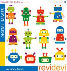 80% OFF SALE Cute Robot clipart Awesome Robots Clip by revidevi