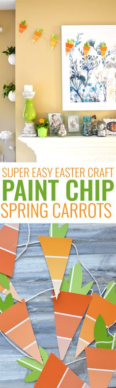 Paint Chip Craft: Spring Carrots. This Easter craft is so simple and cheap! Grab free paint chips from your local hardware store and string them up. It's an easy craft and a cute DIY! Gotta love easy paint chip crafts.