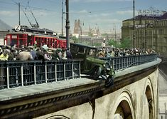 Warsaw car accident at Pantser Viaduct Old Street, Warsaw, Poland, Past, Explore, History, City, People, Vintage