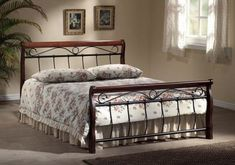 Features: Metal side panels Includes a frame made of straight slats on a tape Beautiful metal frame details Bed Size (Size: Small Double Europ Framing Materials, Types Of Wood, Mattress, Upholstery, Interior, Furniture, Design, Home Decor, Side Panels