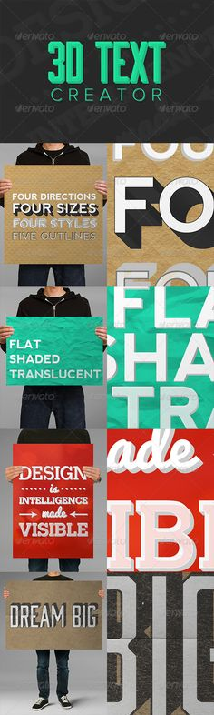 Buy Text Creator by sparklestock on GraphicRiver. Easily create stunning text with these Photoshop actions! This huge pack of 65 actions can turn your text layers i. Photoshop Text Effects, Cool Photoshop, Photoshop Actions, Four Directions, Font Generator, 3d Text, 3d Typography, Text Style, Make Color