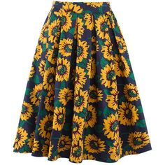 Inverted Pleat Sunflower Printed Flared Midi Skirt ($30) ❤ liked on Polyvore featuring skirts, flare skirt, midi flare skirt, floral print midi skirt, midi skirt and calf length skirts