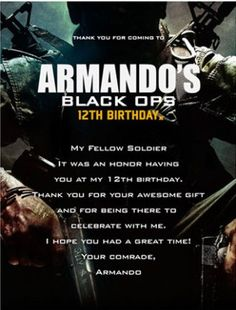 Military Army Call Of Duty Black Ops Party Invitation Jesse Bday
