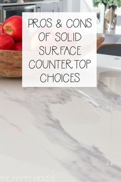 Solid Surface Countertop Options Pros and Cons Countertop Options, Solid Surface Countertops, Countertop Materials, Kitchen Countertops, Layout Design, Grey Kitchens, Farmhouse Kitchens, Marble Quartz, Ikea