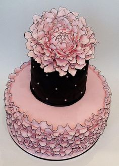 Pink ruffle cake - this is so precious and adorable - too pretty to eat! Pretty Cakes, Beautiful Cakes, Amazing Cakes, Pink Ruffle Cake, Ruffled Cake, Pink Birthday Cakes, Pink Cakes, Happy Birthday, Foundant
