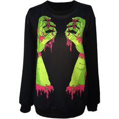 Gothic Clothing Sweatshirts Zombie Walking Dead Hoodies Sweater For... ($17) ❤ liked on Polyvore featuring tops, hoodies, sweatshirts, shirts, sweaters, jumpers, jackets, hoodie sweat shirt, gothic hoodie and hoodie shirt