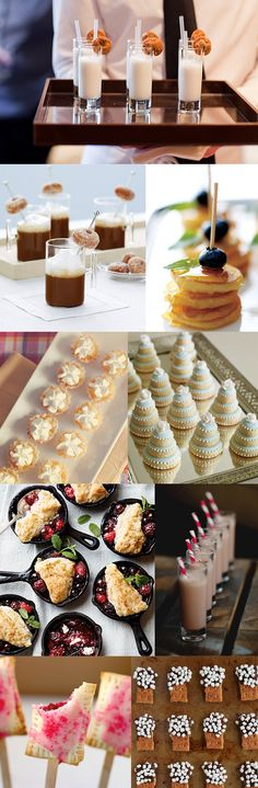 Small bites - little appetizers or desserts that are perfect for passing around for guests. Mini Appetizers, Wedding Appetizers, Mini Desserts, Appetizer Recipes, Dessert Recipes, Brunch Appetizers, Delicious Appetizers, Small Desserts, Appetizer Ideas