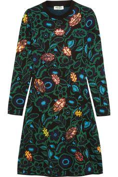 KENZO|Shadow Flower appliquéd intarsia wool-blend dress|NET-A-PORTER.COM