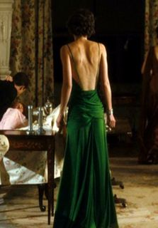 """More """"Green Atonement Dress"""": Back Detail (I didn't realize how far it dipped in the back, very dramatic.)"""
