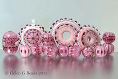 Pink lampwork glass bead set by Helen Gorick