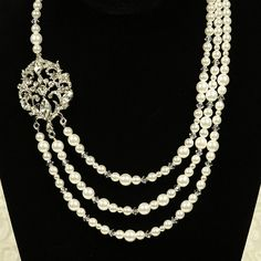 QUEENA Vintage Inspired Wedding Necklace by GlamorousBijoux, $139.00