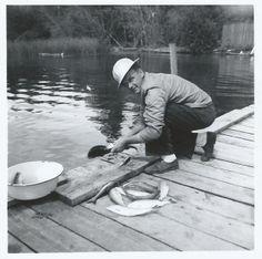 Grandpa Everett cleaning some fish