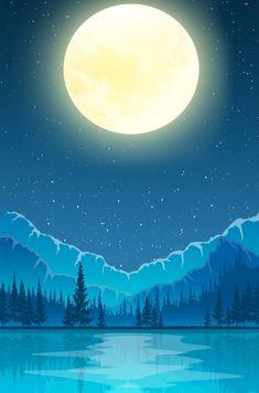 한여름 밤 꿈 만화 밤 장면 손으로 그려진 블루 미니멀 광고 배경 한여름 밤의 꿈,만화,야경,손으로 Noche Halloween, Eid Al-adha, Painted Rocks, Hand Painted, Music Visualization, Midsummer Nights Dream, Art Sketches, Moonlight, Scenery